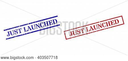 Grunge Just Launched Rubber Stamps In Red And Blue Colors. Seals Have Rubber Style. Vector Rubber Im