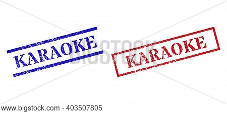 Grunge Karaoke Rubber Stamps In Red And Blue Colors. Stamps Have Rubber Style. Vector Rubber Imitati