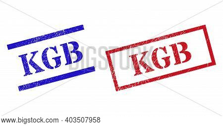 Grunge Kgb Rubber Stamps In Red And Blue Colors. Seals Have Rubber Texture. Vector Rubber Imitations