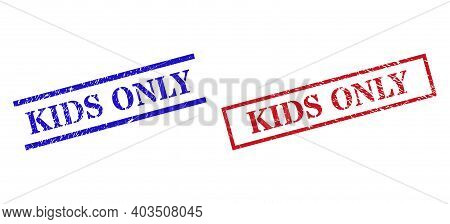 Grunge Kids Only Seal Stamps In Red And Blue Colors. Stamps Have Rubber Style. Vector Rubber Imitati