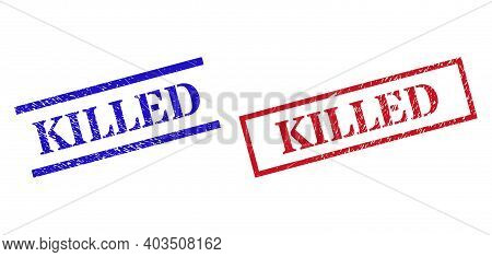 Grunge Killed Rubber Stamps In Red And Blue Colors. Stamps Have Draft Surface. Vector Rubber Imitati