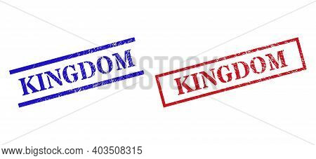 Grunge Kingdom Stamp Seals In Red And Blue Colors. Stamps Have Rubber Style. Vector Rubber Imitation