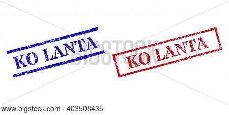 Grunge Ko Lanta Stamp Seals In Red And Blue Colors. Seals Have Rubber Texture. Vector Rubber Imitati