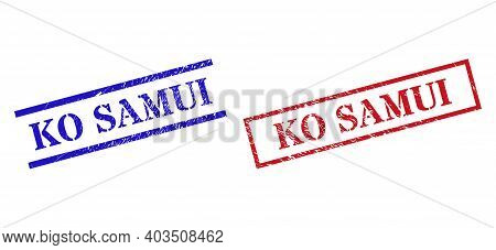 Grunge Ko Samui Rubber Stamps In Red And Blue Colors. Seals Have Rubber Style. Vector Rubber Imitati