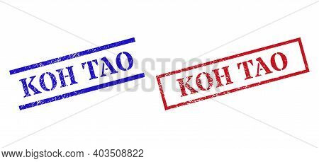 Grunge Koh Tao Stamp Watermarks In Red And Blue Colors. Seals Have Rubber Surface. Vector Rubber Imi