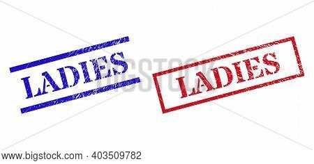 Grunge Ladies Rubber Stamps In Red And Blue Colors. Stamps Have Draft Surface. Vector Rubber Imitati