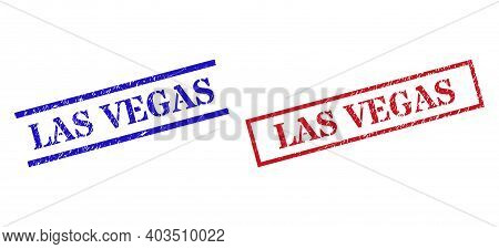 Grunge Las Vegas Rubber Stamps In Red And Blue Colors. Stamps Have Distress Surface. Vector Rubber I