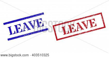 Grunge Leave Rubber Stamps In Red And Blue Colors. Stamps Have Distress Surface. Vector Rubber Imita