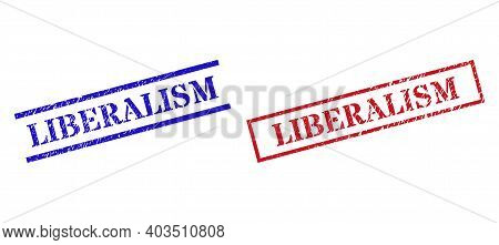 Grunge Liberalism Rubber Stamps In Red And Blue Colors. Stamps Have Rubber Style. Vector Rubber Imit