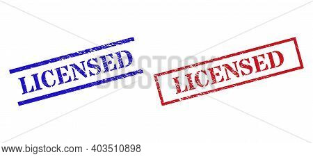 Grunge Licensed Rubber Stamps In Red And Blue Colors. Stamps Have Rubber Style. Vector Rubber Imitat