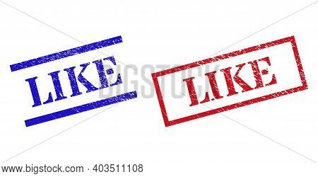 Grunge Like Rubber Stamps In Red And Blue Colors. Stamps Have Distress Style. Vector Rubber Imitatio