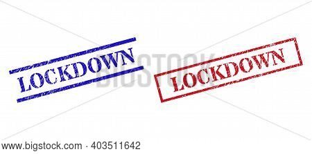 Grunge Lockdown Stamp Seals In Red And Blue Colors. Seals Have Draft Style. Vector Rubber Imitations