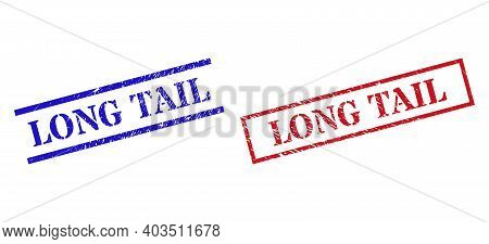 Grunge Long Tail Stamp Watermarks In Red And Blue Colors. Seals Have Rubber Texture. Vector Rubber I