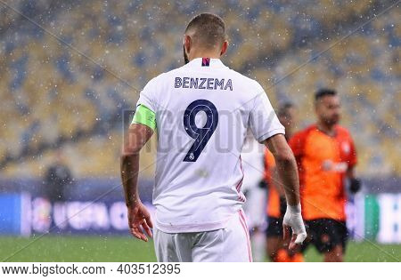 Kyiv, Ukraine - December 1, 2020: Portrait Of Striker Karim Benzema Of Real Madrid Seen During The U