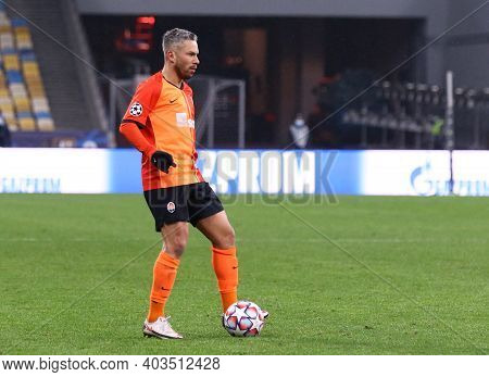 Kyiv, Ukraine - December 1, 2020: Marlos Of Shakhtar Donetsk Controls A Ball During The Uefa Champio