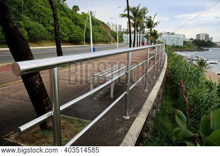 Handrail In Sidewalk Of The Edge Of Salvador