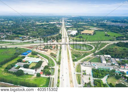 Aerial View Of Highway Road And Bridge At Intersection Or Junction. Infrastructure Building In Chian