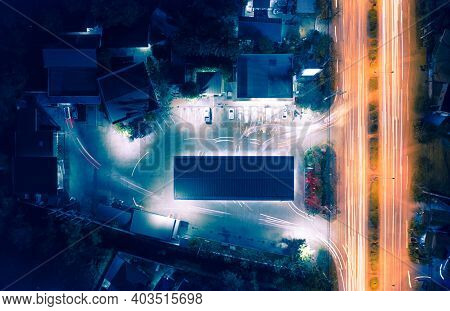Aerial View Of Gas Station Or Petrol Station Also Called Service Station And Convenience Store Inclu
