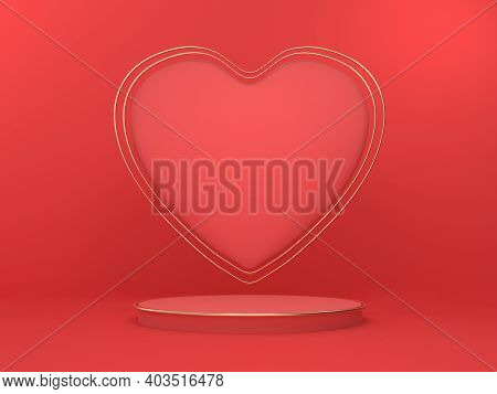 Abstract Mockup Scene For Product Presentation. A Heart-shaped Valentines Day Pedestal For Advertisi