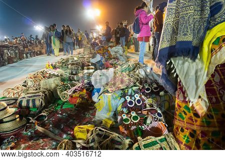Kolkata, West Bengal, India - 31st December 2018 : Handmade Jute Hats And Other Products, Handicraft