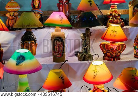 Kolkata, West Bengal, India - 31st December 2018 : Colorful Decorated Lamp Shades, Handicrafts On Di