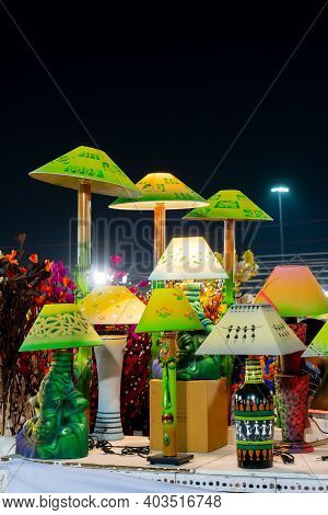 Kolkata, West Bengal, India - 31st December 2018 : Colorful Lamp Shades, Handicrafts On Display For