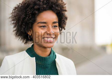 Portrait Of Afro Business Woman Smiling While