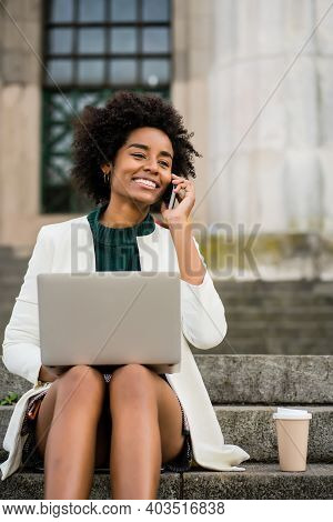 Portrait Of Afro Business Woman Talking On