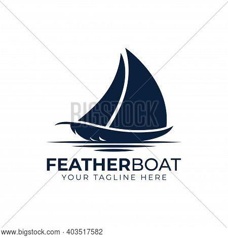 Sail Boat And Feather Logo Concept Template Design Vector, Sailing Vintage Logo, Emblem, Label Vecto