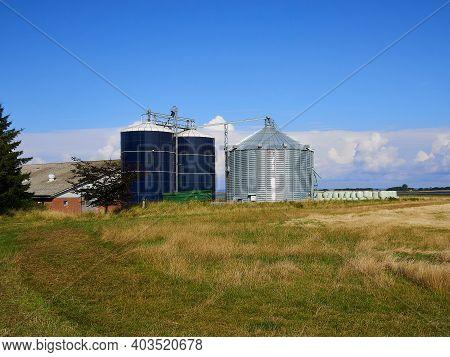 Farm Grain Silo Agriculture Industry Production Image