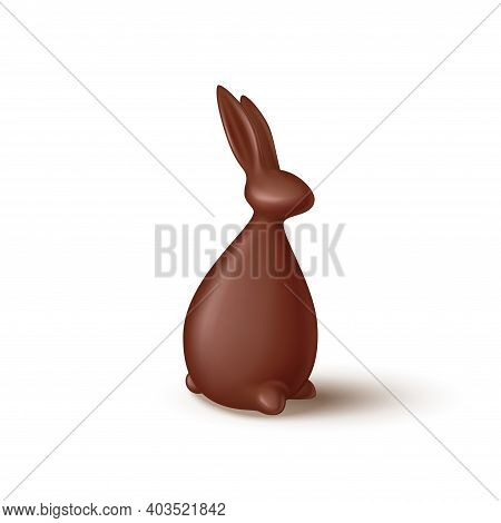 Chocolate Rabbit Isolated On White Background. Realistic Chocolate Bunny. Vector Illustration With 3