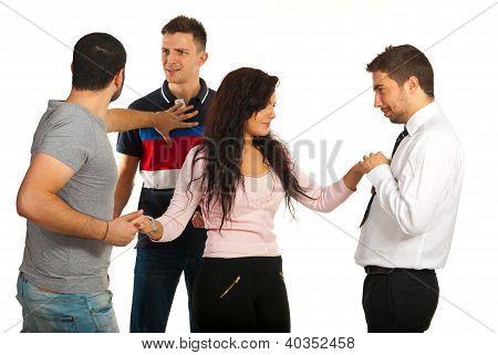 Woman Between Three Guys