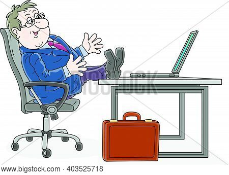Funny Fat Businessman Sitting In An Office Chair At His Desk With A Laptop, Talking, Gesticulating A