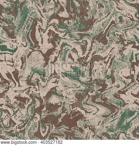 Grunge Camouflage Dots Tile, Seamless Ebru Pattern. Military Urban Liquid Marble Camo Texture.  Army