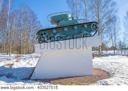 Pitkyaranta, Russia - April 06, 2019: Tank T-26 - Monument