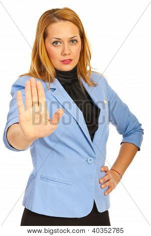 Business Woman With Stop Hand