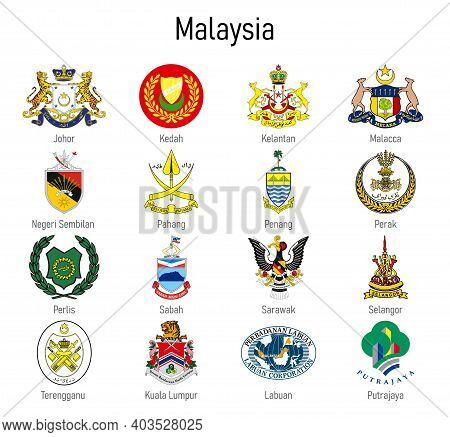 Coat Of Arms Of The State Of Malaysia, All Malaysian Regions Emblem Collection