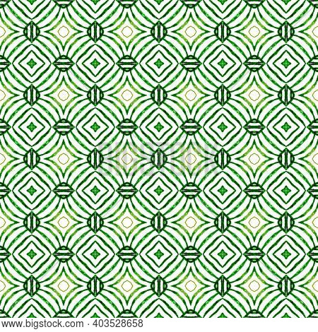 Hand Drawn Tropical Seamless Border. Green Alluring Boho Chic Summer Design. Tropical Seamless Patte
