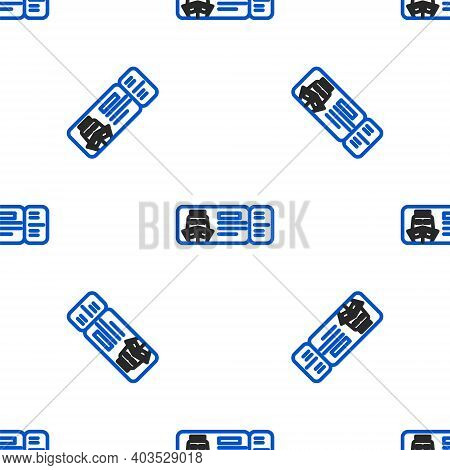 Line Cruise Ticket For Traveling By Ship Icon Isolated Seamless Pattern On White Background. Travel
