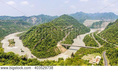 A View Of Ranjit Sagar Dam (thein Dam) As Seen From Jugial Dam Site Road