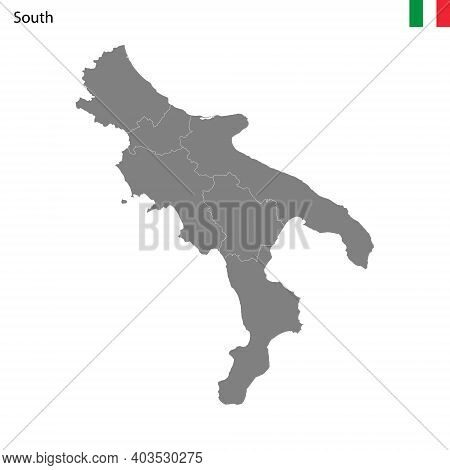 High Quality Map South Region Of Italy, With Borders Of The Provinces