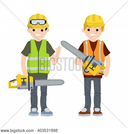 Two Men Workers In Uniform With Helmets, Chainsaw And Glasses. Industrial Safety. Loggers And Object