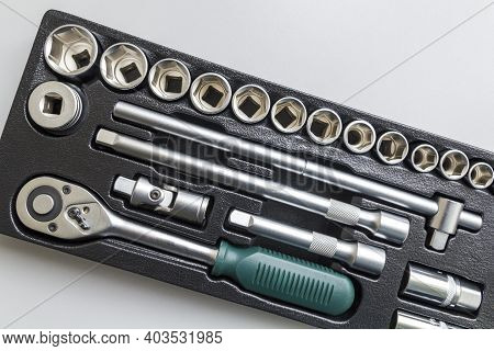 Set Of Tools Closeup - Wrench Heads, Nozzles The Screwdriver In Case. Professional Instrument. Selec