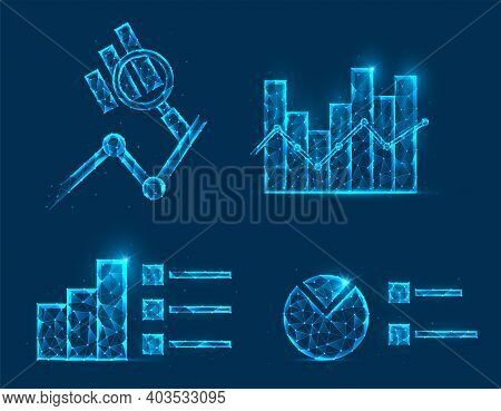 Abstract Polygonal Data Analysis Vector Illustration. Low Poly Model Chart, Graphs And Magnifying Gl