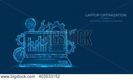 Abstract Polygonal Vector Illustration Of Laptop Optimization. Low Poly Concept Of Laptop Made From