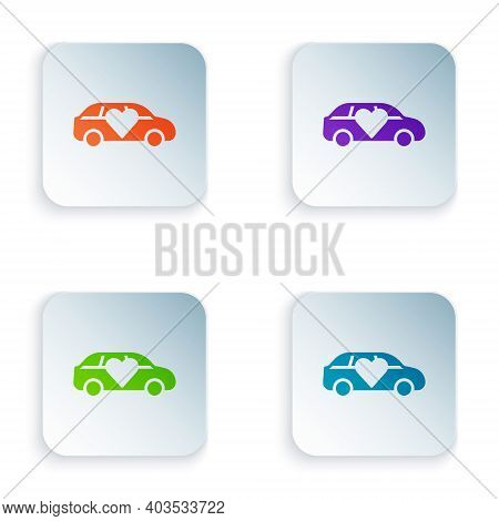 Color Luxury Limousine Car Icon Isolated On White Background. For World Premiere Celebrities And Gue