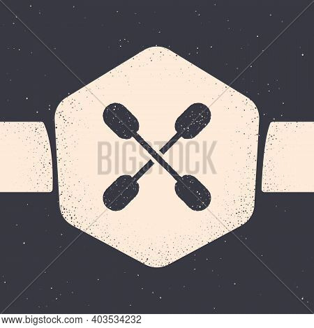 Grunge Cotton Swab For Ears Icon Isolated On Grey Background. Monochrome Vintage Drawing. Vector