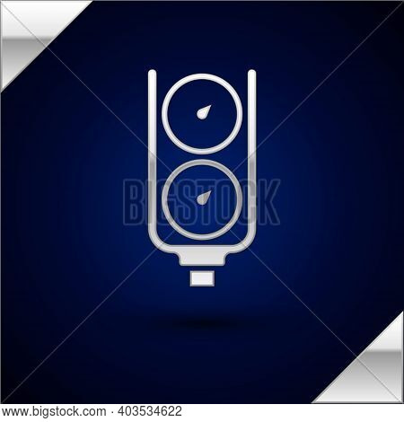 Silver Gauge Scale Icon Isolated On Dark Blue Background. Satisfaction, Temperature, Manometer, Risk