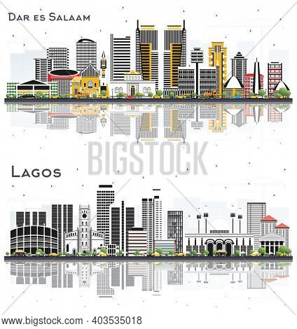 Lagos Nigeria and Dar Es Salaam Tanzania City Skyline Set with Color Buildings and Reflections Isolated on White Background.