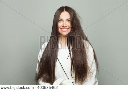 Beautiful Woman Brunette Smiling On White Background